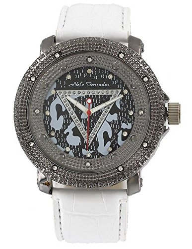 Nele Fortados Strass Armbanduhr weiss Leder genarbt analog Women Watch