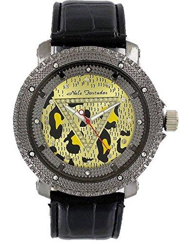 Nele Fortados Strass Armbanduhr schwarz Leder genarbt Damenuhr analog Analog Watch