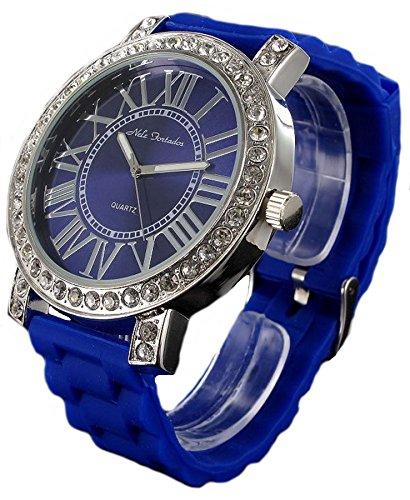 Nele Fortados XXL Strass Armbanduhr blaue Silikonband Damenuhr Women Watch