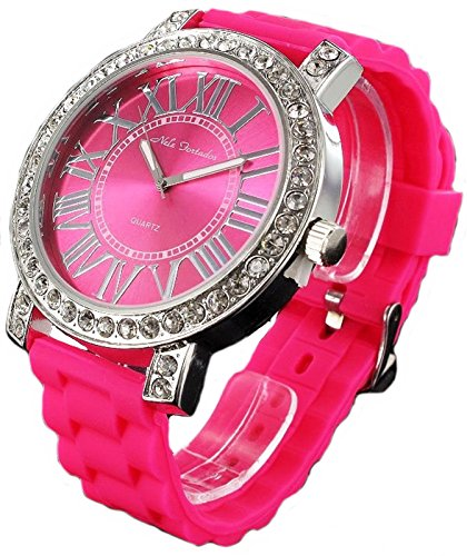 Nele Fortados XXL Strass Armbanduhr rosa Silikonband Damenuhr Women Watch