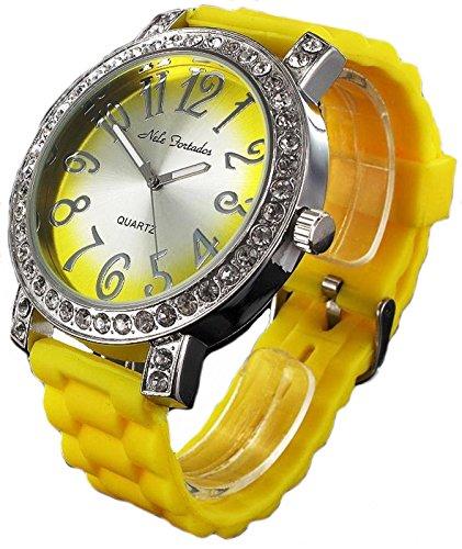 Nele Fortados XXL Strass Armbanduhr gelbe Silikonband Damenuhr Women Watch
