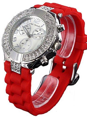 Nele Fortados Strass Armbanduhr in Chrono Look rote Silikonband Armbanduhr analog Women Watch