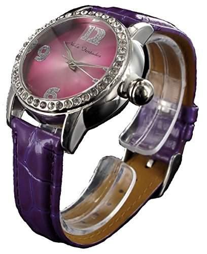 Lila Nele Fortados Damenuhr Strass Armbanduhr mit Glanz Leder Armband