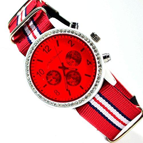 Unisex Armbanduhr mit Textilarmband in Weiss Rot und Chronograph Look Power