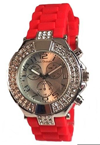 Zeitlose Armbanduhr Nele Fortados Silikon Armbanduhr 40mm mit Strass Steinen