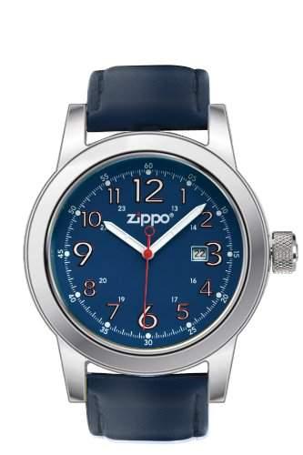 Zippo Herren-Armbanduhr Analog Leder blau 45004
