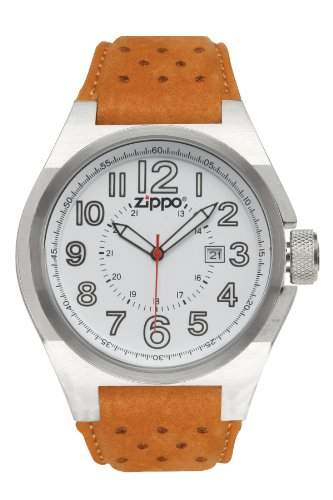 Zippo Herren-Armbanduhr Analog Leder braun 45011