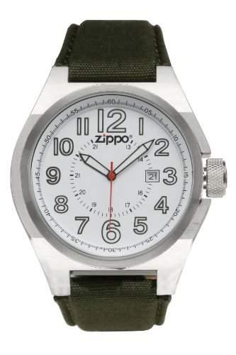 Zippo Herren-Armbanduhr Analog Textil gruen 45013