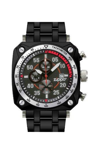 Zippo Herren Armbanduhr Chronograph Edelstahl schwarz 45019