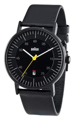 Braun Herren-Armbanduhr XL BN0013BKBKG Analog Quarz Leder