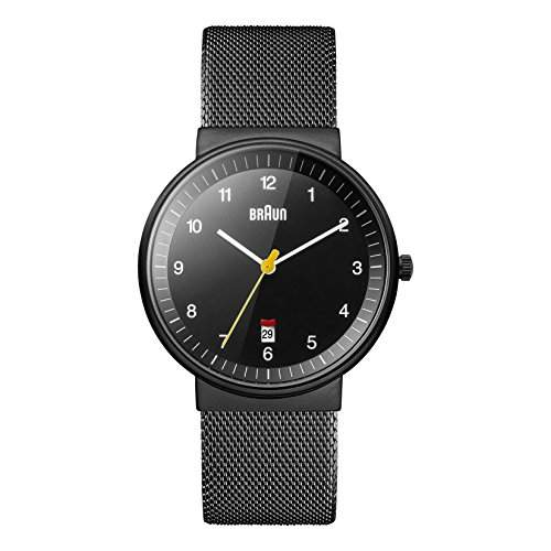 Braun Herren-Armbanduhr XL Analog Quarz Edelstahl BN0032BKBKMHG