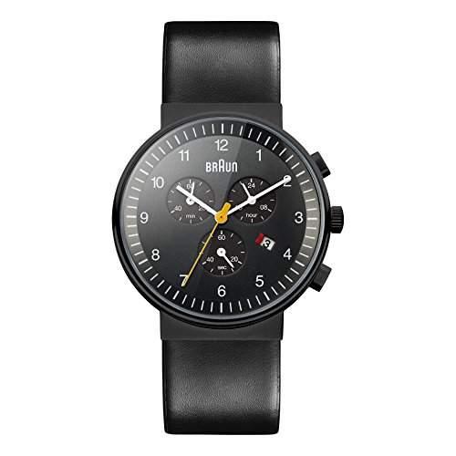 Braun Herren-Armbanduhr XL BN0035BKBKG Chronograph Leder