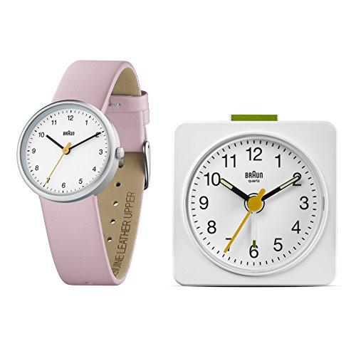Braun Damen Uhren Geschenkset Analog Leder BN0231WHPK BNC019WH