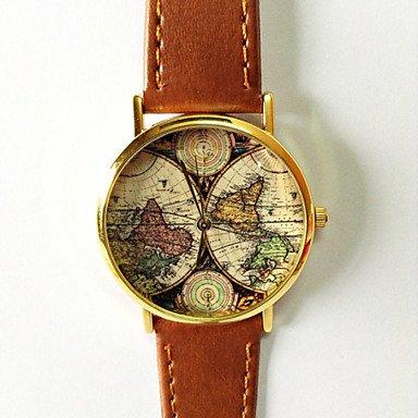 Fenkoo Unisex Modeuhr Quartz Weltkarte Muster PU Band Armbanduhr Vintage Schwarz Braun