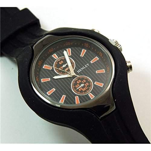 Henley schwarz-orange Herren Sportuhr mit imitierten Chronographen