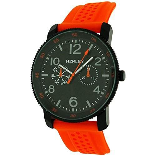 Henley analoge Herrenuhr, schwarz & orange, gr Zifferblatt, Gummiband H020888
