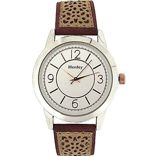 HENLEY Elegante Damenarmbanduhr mit zweifarbigem Ziffernblatt und sandfarbenem Wildlederimitat Armband H0606410