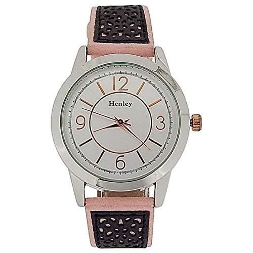 HENLEY Damenarmbanduhr zweifarbig, silberfarbenes Ziffernblatt, pink & graues Wildlederimitat Armband H060645