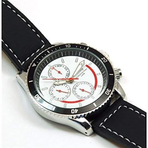 Henley weisse Herren Sportuhr mit imitierten Chronographen