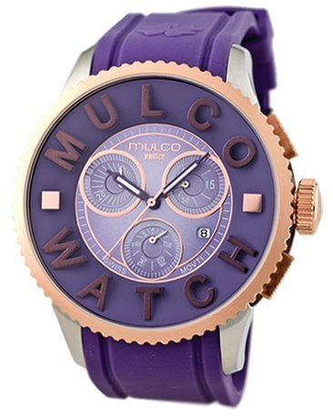 Mulco Herren Damen 52mm Chronograph Lila Plastik Armband Uhr MW3 10302 053