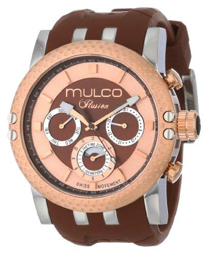Mulco 47mm Armband Silikon Braun Gehaeuse Edelstahl Schweizer Quarz MW311169033