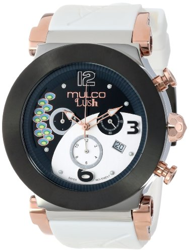 Mulco 46mm Armband Silikon Weiss Gehaeuse Edelstahl Schweizer Quarz MW5 2388 015