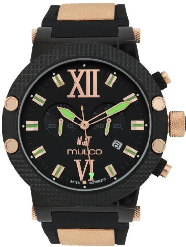 Mulco 47mm Armband Silikon Gold Gehaeuse Edelstahl Quarz Zifferblatt Schwarz MW311010025