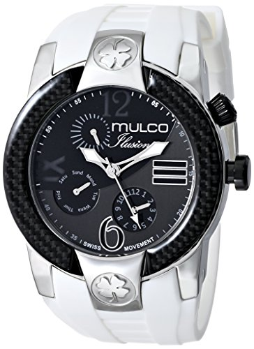 Mulco Ilusion Herren Armbanduhr 46mm Armband Silikon Weiss Gehaeuse Edelstahl Batterie Analog MW51877015