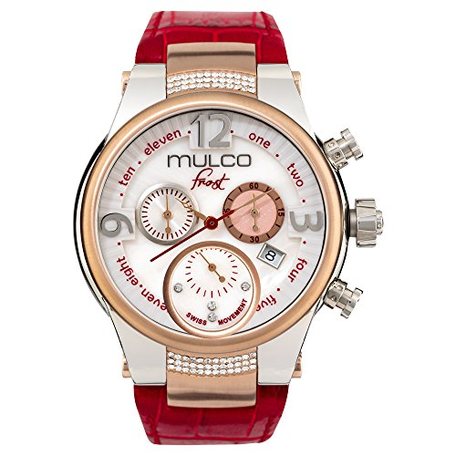 MULCO Frost MW5 2601 163 rot Leder Band Frauen Armbanduhr mit Swarovski Kristallen