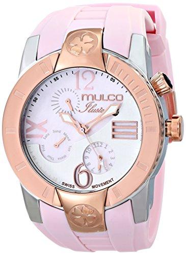 Mulco Ilusion Unisex Armbanduhr 46mm Armband Silikon Pfirsich Gehaeuse Edelstahl Batterie Analog MW51877813
