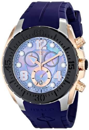 Mulco Damen-Armbanduhr 46mm Armband Silikon Blau Gehaeuse Edelstahl Schweizer Quarz Chronograph MW182197045