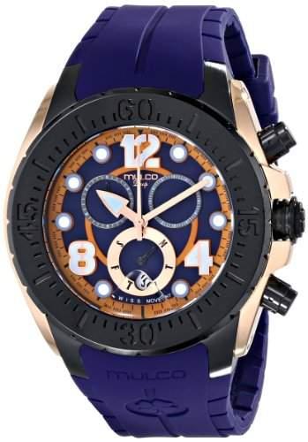 Mulco Damen-Armbanduhr 46mm Armband Silikon Blau Gehaeuse Edelstahl Schweizer Quarz Chronograph MW182197046