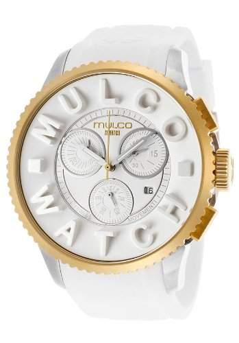 Mulco Herren & Damen 49mm Chronograph Weiss Kautschuk Armband Uhr MW3-10302-012