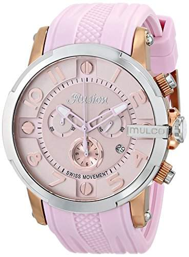 Mulco Damen-Armbanduhr 45mm Armband Silikon Pfirsich Gehaeuse Edelstahl Schweizer Quarz Analog MW312239813