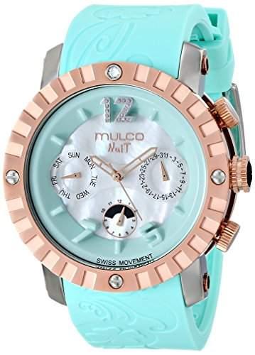 Mulco Nuit Damen-Armbanduhr 45mm Armband Silikon Blau Gehaeuse Edelstahl Quarz Analog MW51876413