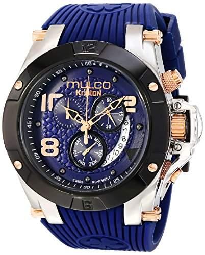 MULCO Damen-Armbanduhr 47mm Armband Kautschuk Blau Gehaeuse Edelstahl Schweizer Quarz MW5-2029-045