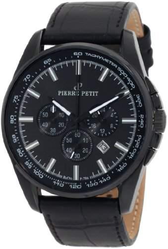 Pierre Petit Herren-Armbanduhr XL Le Mans Chronograph Leder P-786C