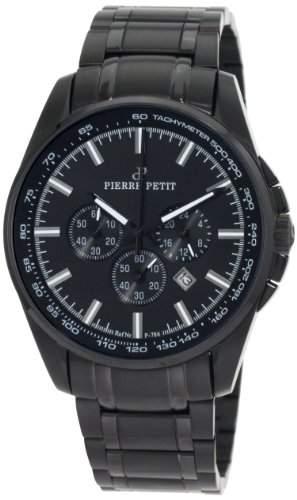 Pierre Petit Herren-Armbanduhr XL Le Mans Chronograph Edelstahl beschichtet P-786F