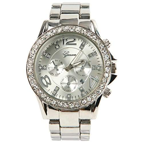 GENEVA Genf Luxus-Legierung Diamant-Uhr mit Kalender Silber