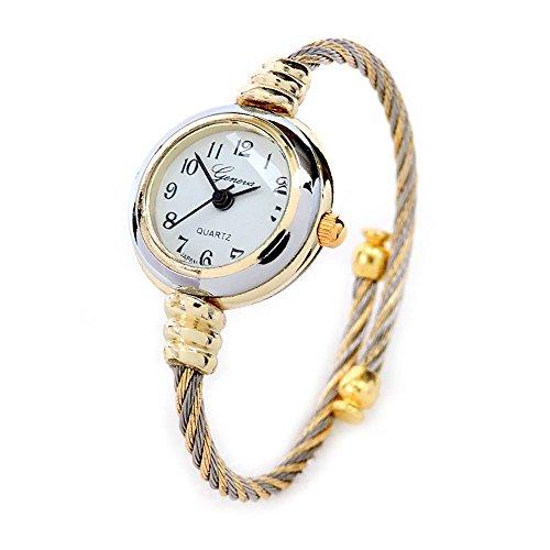 2TONE Gold Silber Kabel Band Damen Armreif Manschette Armbanduhr