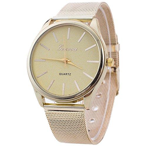 Armbanduhr Geneva Frauen Gold Netz band Armbanduhr Gold