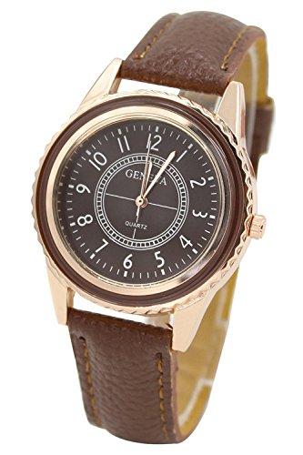 Armbanduhr GENEVA Damen Rose Gold ueberzoges Zifferblatt Armbanduhr Braun