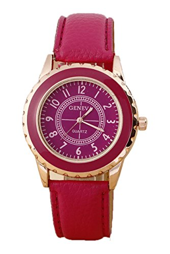 Armbanduhr GENEVA Damen Rose Gold ueberzoges Zifferblatt Armbanduhr Rose Rot