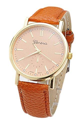 Armbanduhr Geneva Damen Einfaches Rundes Zifferblatt Armbanduhr Braun