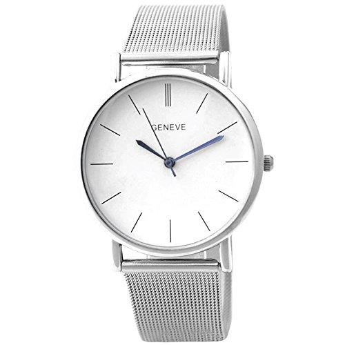 Armbanduhr Geneva Frauen Silber Netz band Armbanduhr Silber