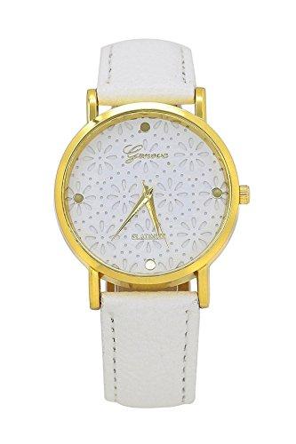 Armbanduhr GENEVA Frauen Kunstleder Blumen laessig Armbanduhr weiss