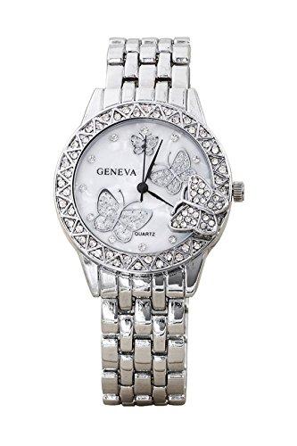 Armbanduhr Geneva Frauen Schmetterling Strass Legierung Armbanduhr Silber
