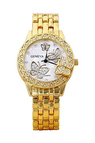 Armbanduhr Geneva Frauen Schmetterling Strass Legierung Armbanduhr golden