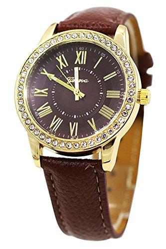 Armbanduhr Geneva Frauen Strass Armbanduhr Kaffee