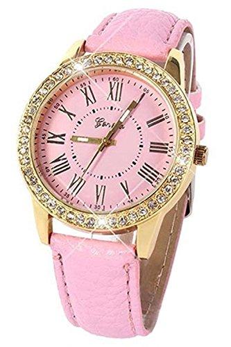 Armbanduhr Geneva Frauen Strass Armbanduhr Rosa